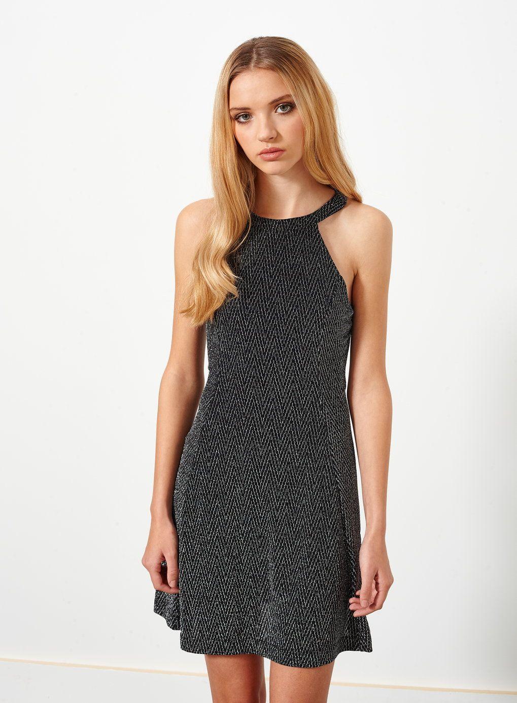 Petites Silver Glitter Dress - Miss Selfridge