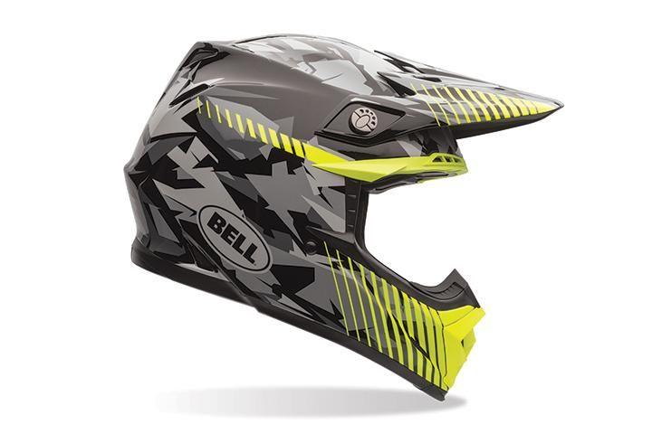 Bell Moto 9 Helmet Yellow Camo Lightweight Tri Matrix Shell Construction Velocity Flow Ventilation System For Maximum Cool Camo Helmet Bell Moto Helmet