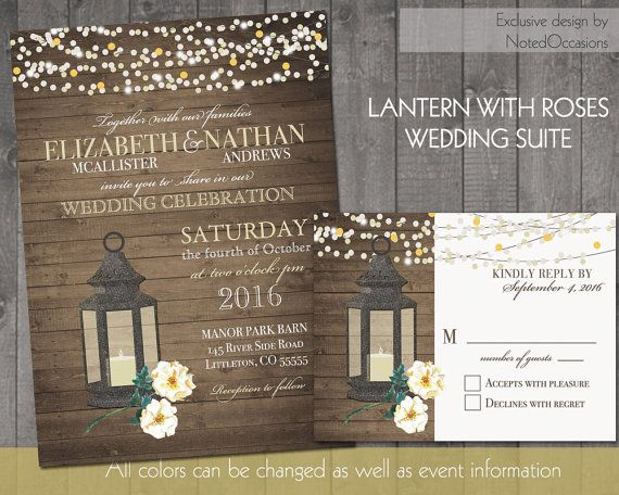 Fall Or Summer Wedding Invitations Rustic Lantern Country With White Roses Wood Grain Background