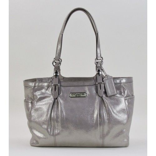 Coach Metallic Silver Leather Gallery East/West Tote Bag @ #MoshPosh