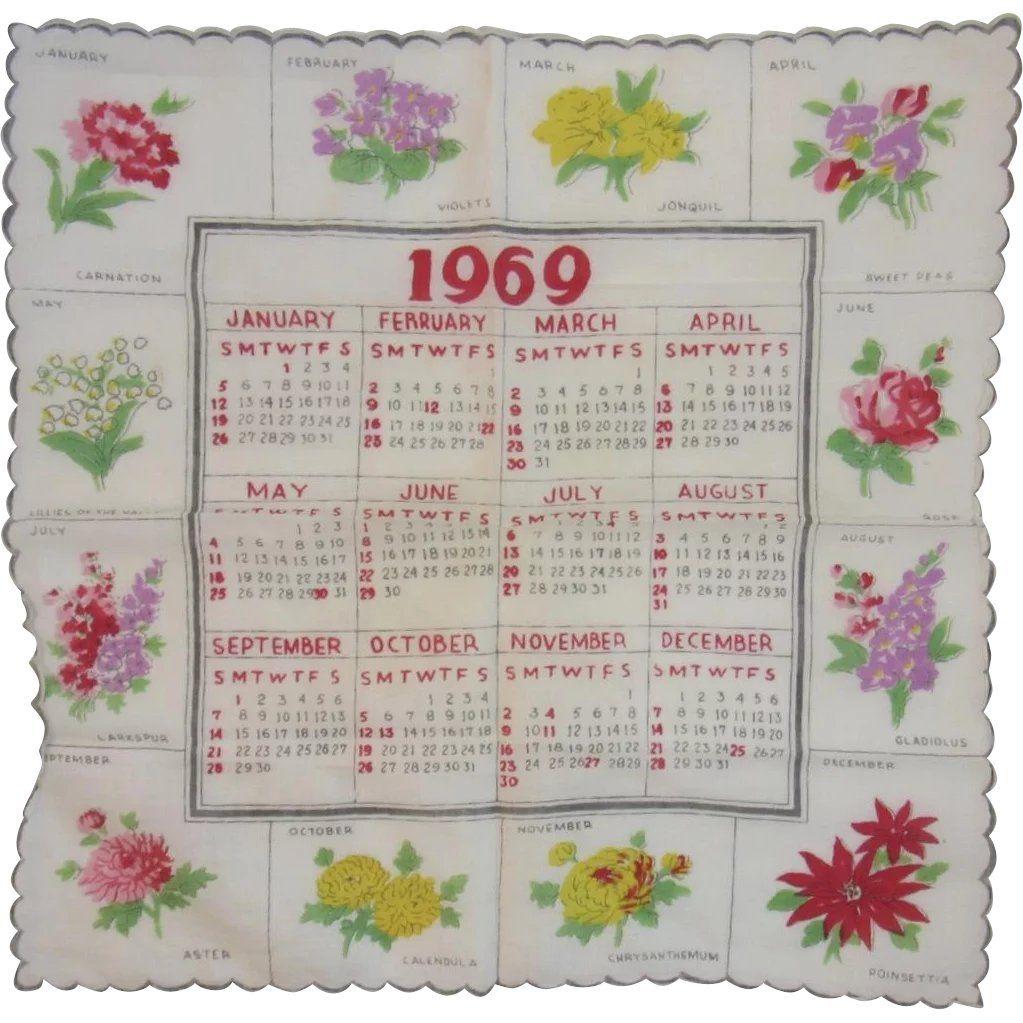 1969 Calendar Birth Year Birthday Hanky Handkerchief Floral Flower