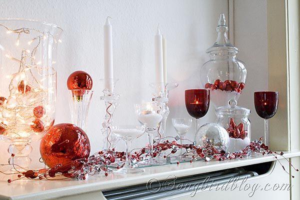 red white silver mantel decoration via songbird blog 12daysofchristmas