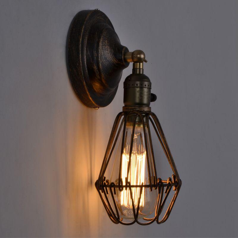 EuSolis Loft Vintage Wall Lamp Lampshade Iron Birdcage Applique