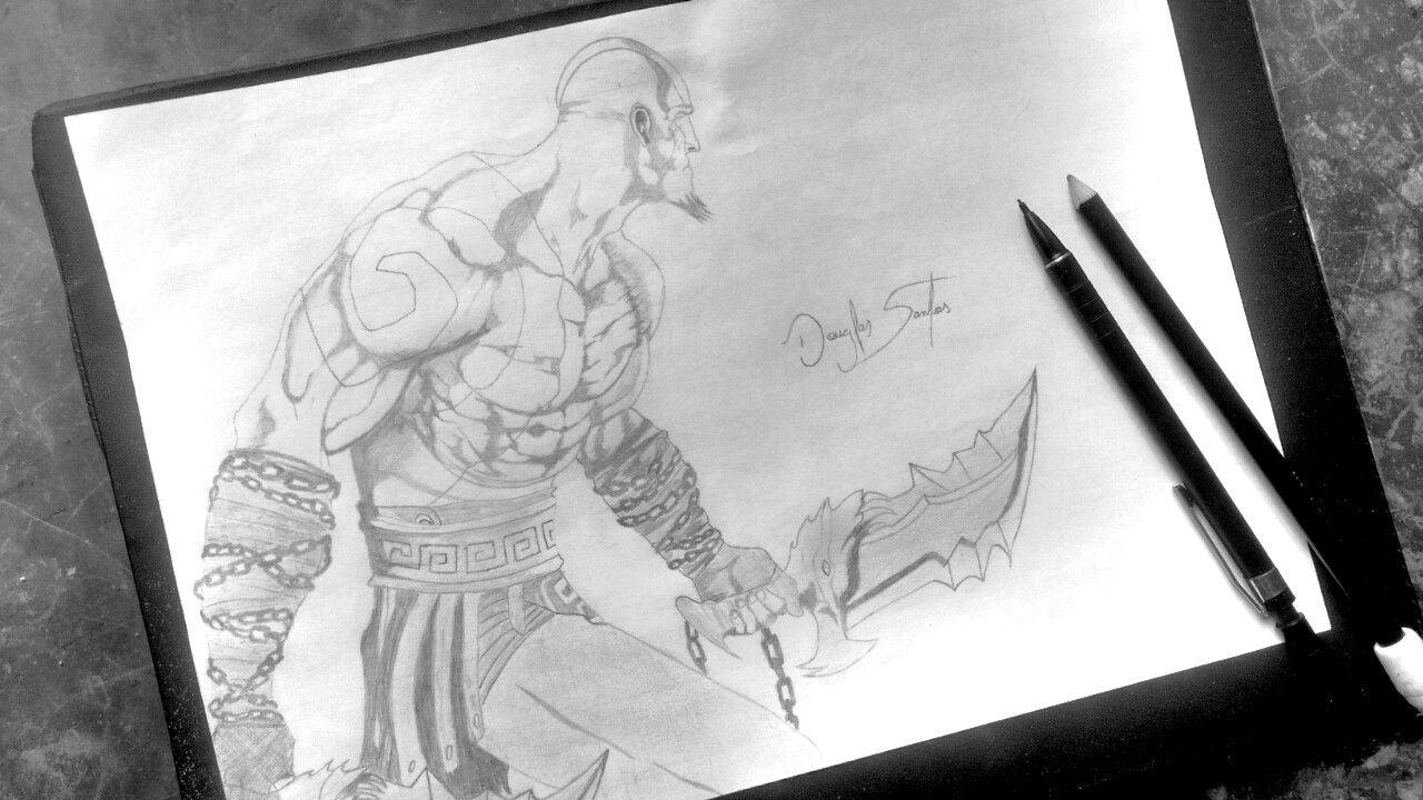 Kratos Gos Of War Doug Drawing Desenho A Lapis Desenho Desenhos