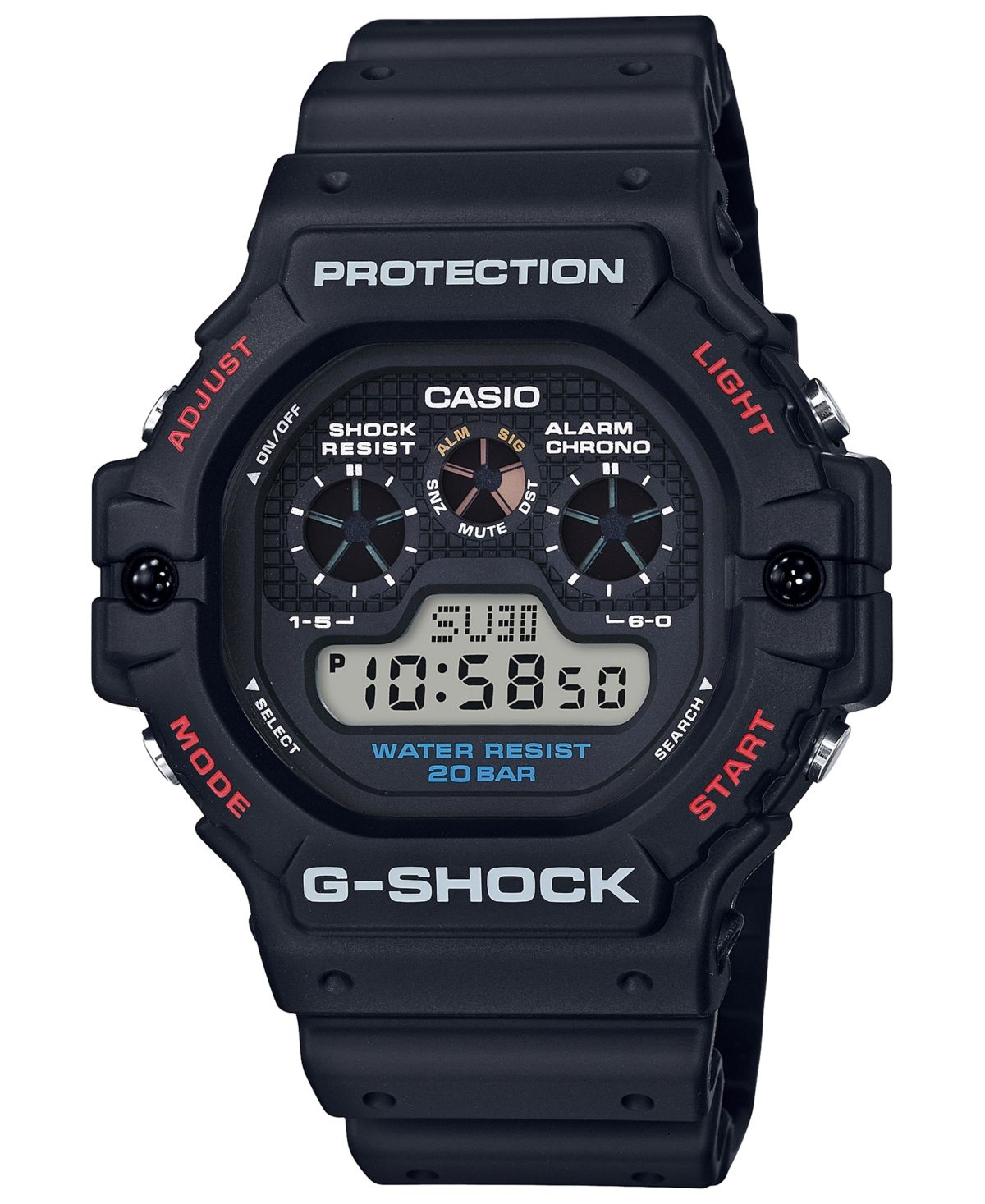 G-Shock Men's Digital Black Resin Strap Watch 51.4mm & Reviews - Watches - Jewelry & Watches - Macy's #sportswatches