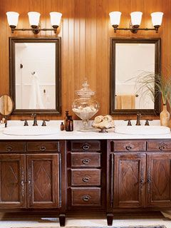 master bathroom double sink vanity. The designer chose surface mounted sinks for the antique style dual vanity  in master bath Salvaged architectural moldings reinvented with a coat of We re doing our never thought two mirrors over