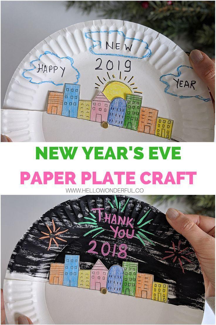 new year 39 s eve paper plate craft for kids silvester. Black Bedroom Furniture Sets. Home Design Ideas