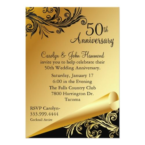 Black  Gold Th Wedding Anniversary Invitation  Th Wedding