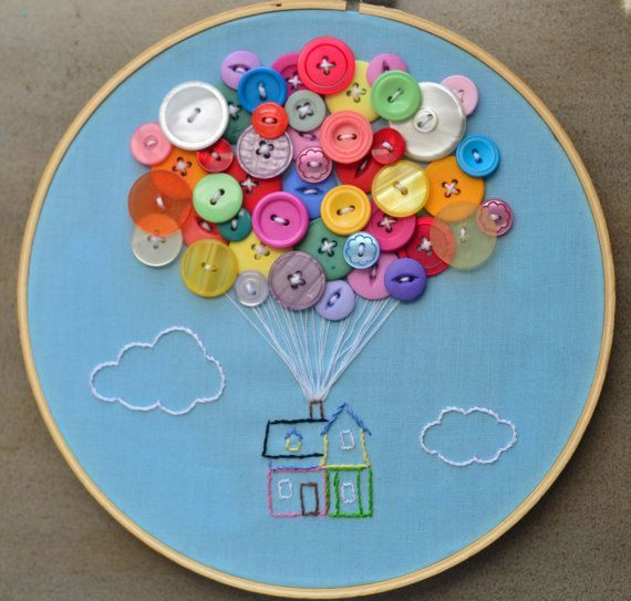 House with Balloons Hand Embroidery Hoop Art #silkribbonembroiderypatterns