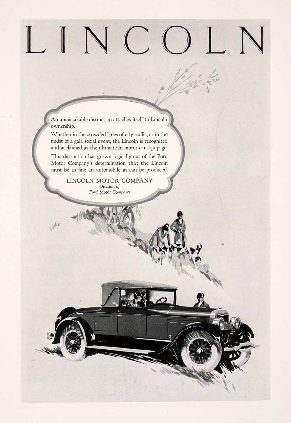 1926 Ad Lincoln Motor Car Puppies Dog Automobile Fox Hunting Ford