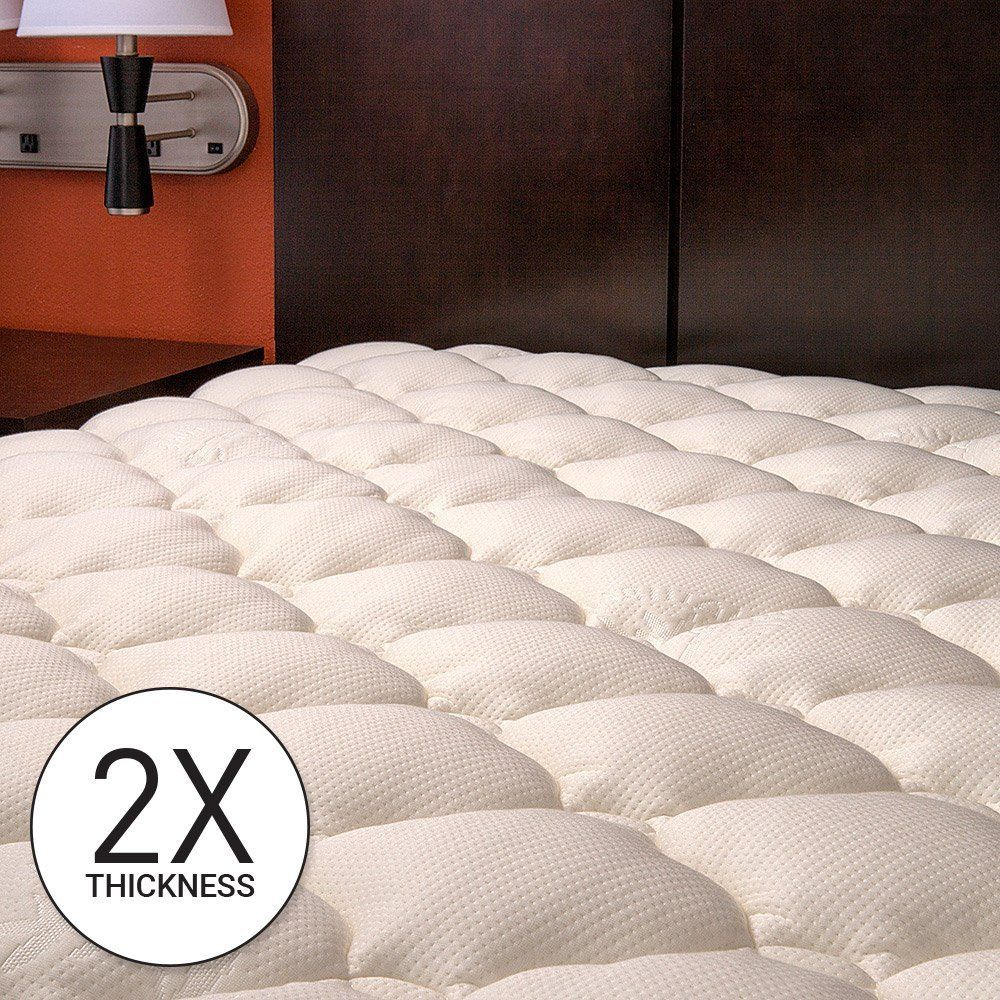 Eluxurysupply Bamboo Extra Thick Mattress Pad With Fitted Skirt