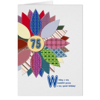 75 Years Old Stitched Flower Birthday Card