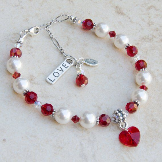 Items similar to Red Heart Charm Bracelet with Love, Valentine Day Gift, Daughter Girlfriend Wife, m/w Swarovski® Crystal Pearl & Sterling Silver Charm on Etsy