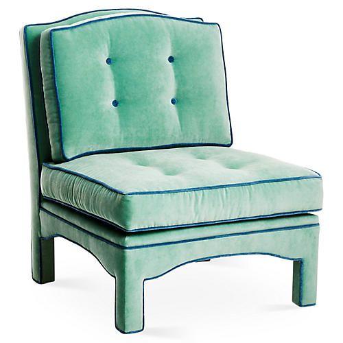 Julien Tufted Slipper Chair Pistachio Velvet Round Back