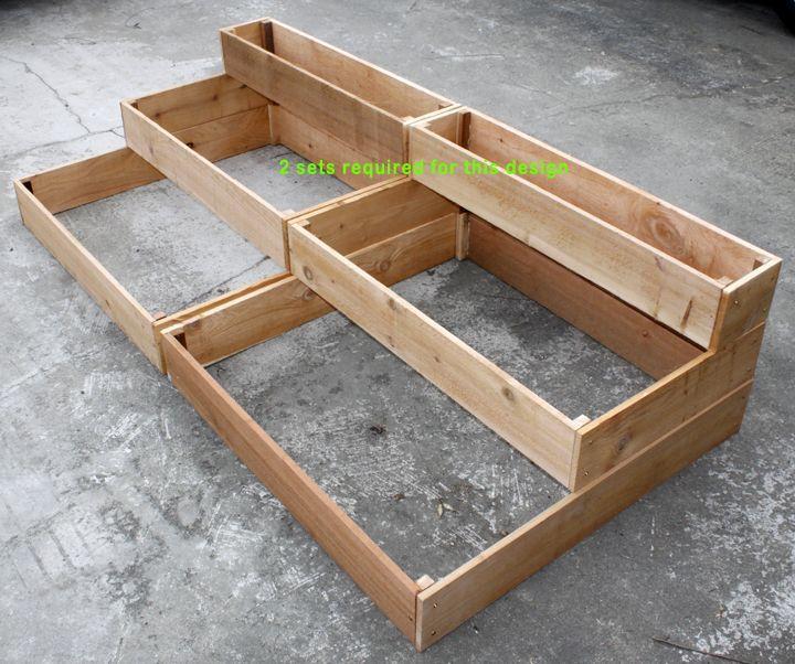 cedar raised 3 tiered planter bed garden garden pinterest bac carr potager et potager. Black Bedroom Furniture Sets. Home Design Ideas