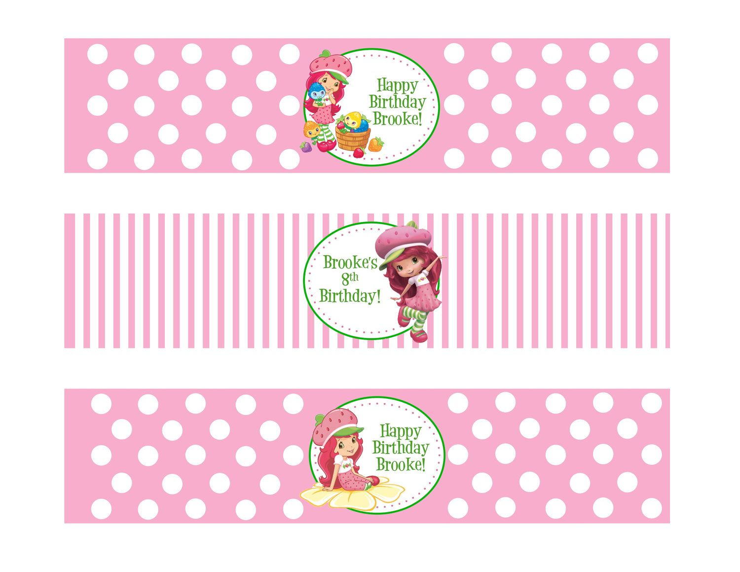 Printable Water Bottle Labels Strawberry By DESIGNEDBYDVB On Etsy 700 Via