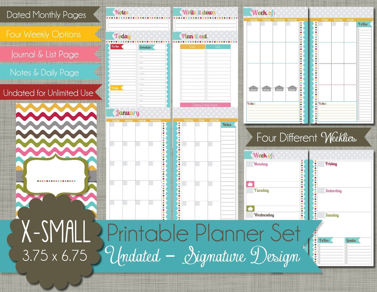 The Polka Dot Posie New XSmall Personal Size Planner Pages For