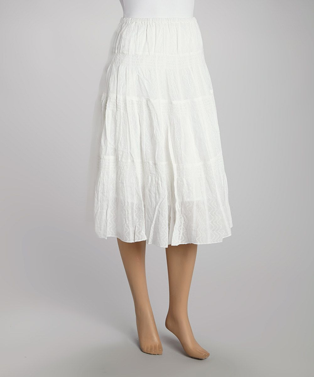 Look what I found on #zulily! White Ribbed Skirt by Papillon Imports #zulilyfinds