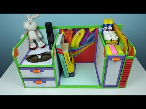 How To Make A Stationery X2f Desk Organizer Using Cardboard And Newspaper Youtube Desk Organization Diy Diy Stationery Organizer Diy Stationery