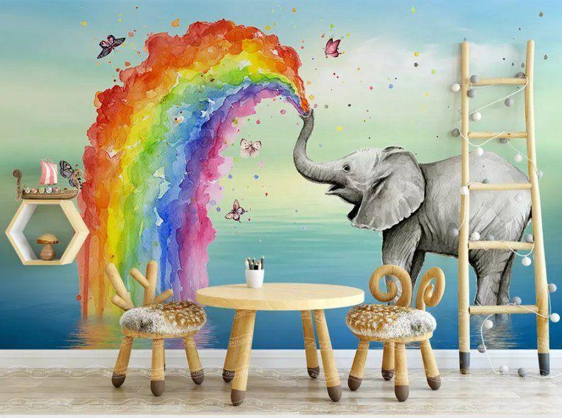 3d Kidswatercolor Rainbowelephant Wallpaper Nursery Etsy Watercolor Nursery Wall Wallpaper Walls Decor Nursery Wallpaper