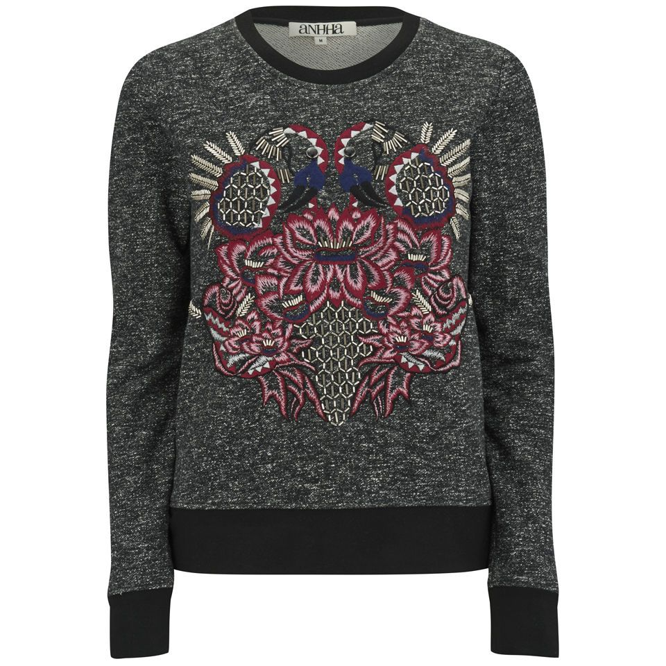 <p>AnhHa Women's Sweat in black marl with soft polyester and rayon mix construction, contrast black ribbed crew neckline, cuffs and hem. The front is finished with a pink and blue embroidered flamingo pattern accentuated with silver embellishment. K.D.</p> <p>100% Cotton</p>