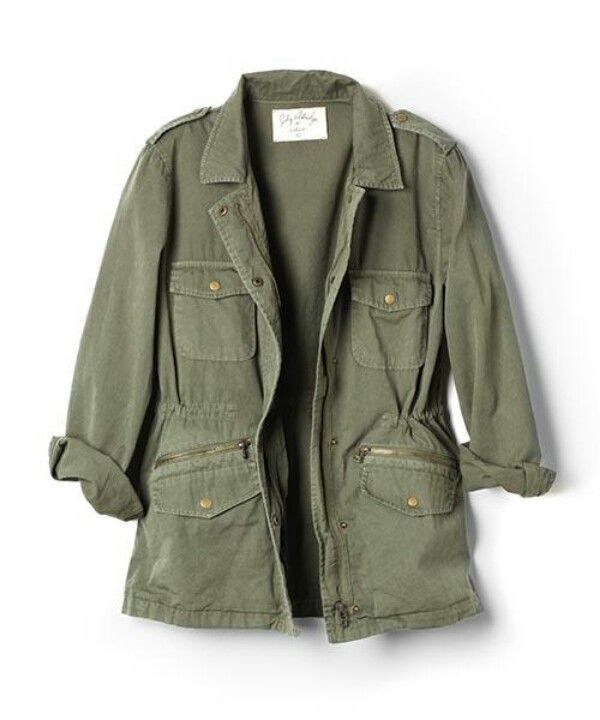 Drawstring Waist Patch Sleeve Utility Jacket Green Single Breasted Autumn Womens Jackets Coats