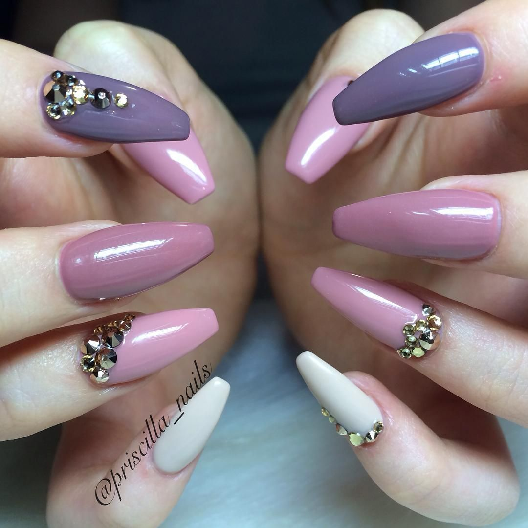 Purple Pink Gradient Long Coffin Nails. Pretty. #nail # ...