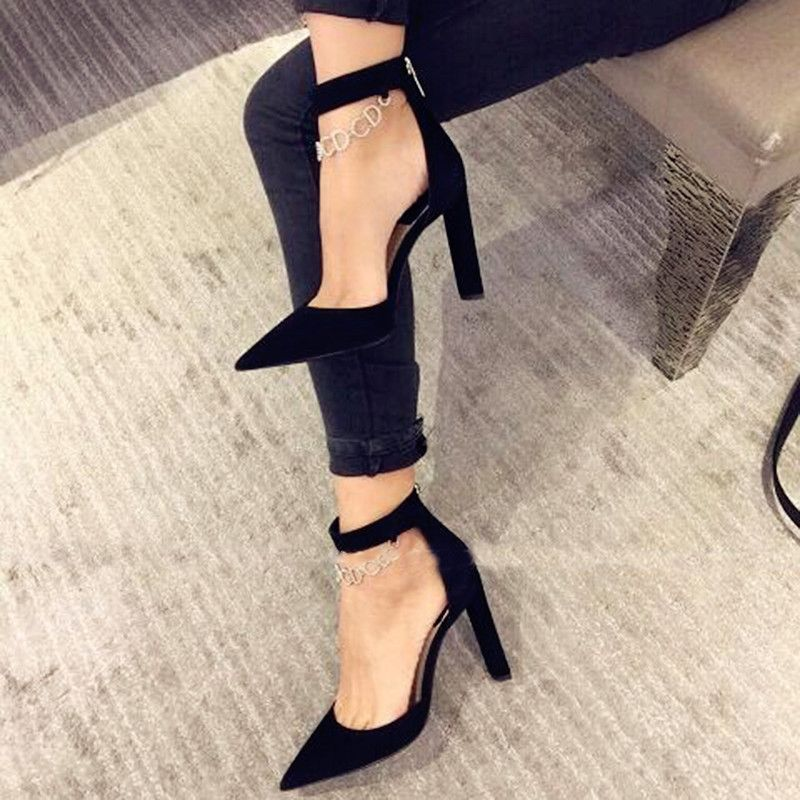 Shoespie Chic Black Ankle Chain Chunky Heels