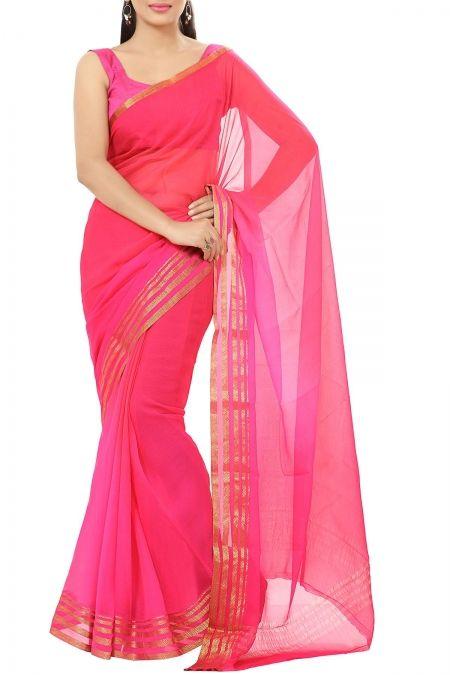b39aaadce5 Folly & Salmon Pink Shaded Zari Border Pure Chiffon Saree   Chiffon ...