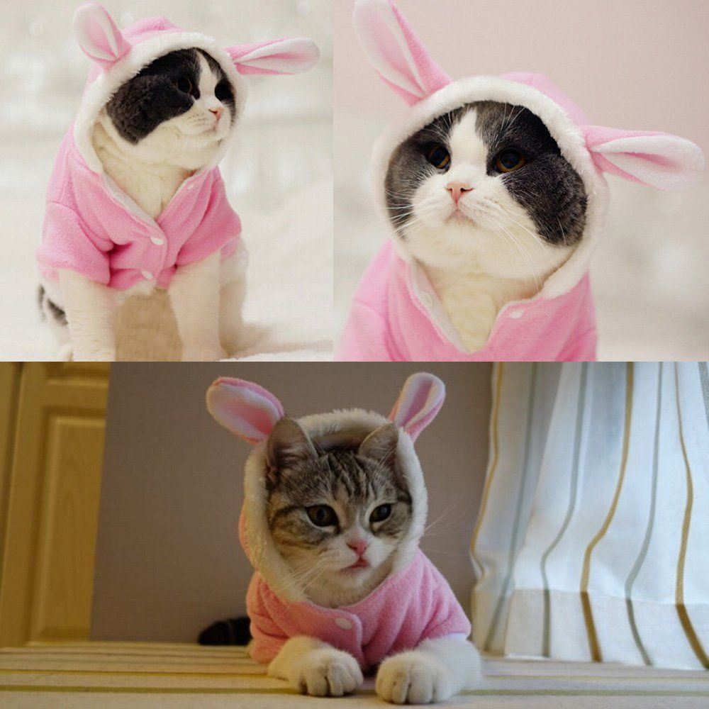 Easter Bunny Costume Cat or Dog Fleece Hoo Rabbit Outfit
