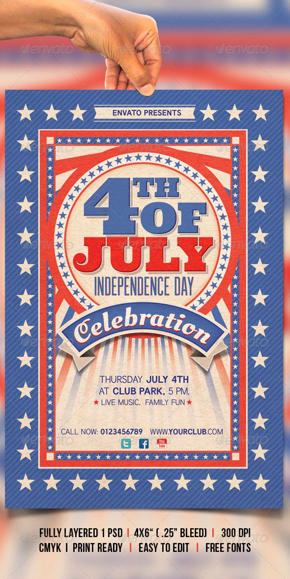 4th of July Flyer printing, Print templates and Template - picnic flyer template
