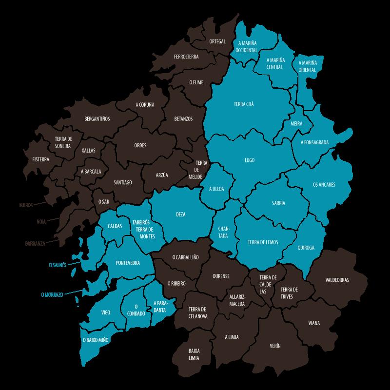 Mapa De Galicia Pueblos.Mapa Galicia Enteira Rutas Y Galicia Turismo