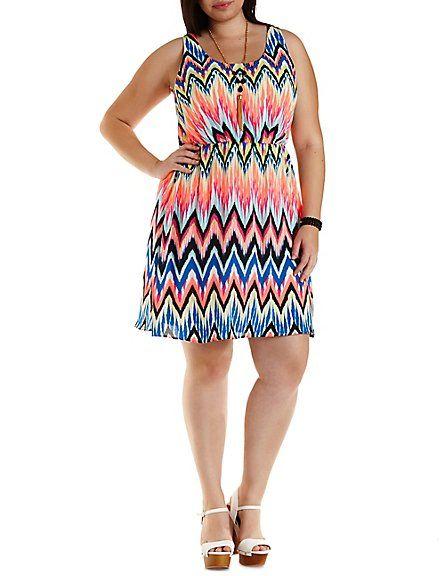 Plus Size Neon Chevron Skater Dress Charlotte Russe Charlotte