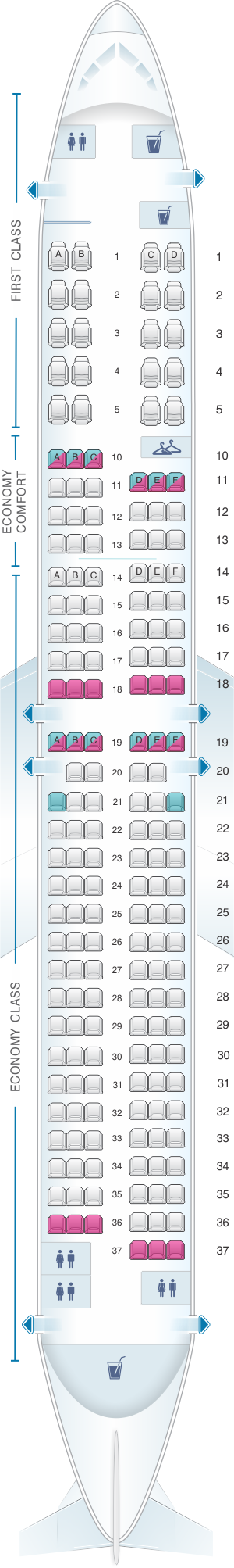 Detailed Seat Map Delta Airlines Boeing B737 900ER 739 Find The - Us Airways A321 Seat Map