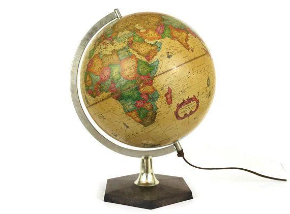French Vintage World Globe Desk Lamp By Scan Globe Of Denmark Light Up Vintage Earth Globe World Globe French Vintage World Globe Lamp