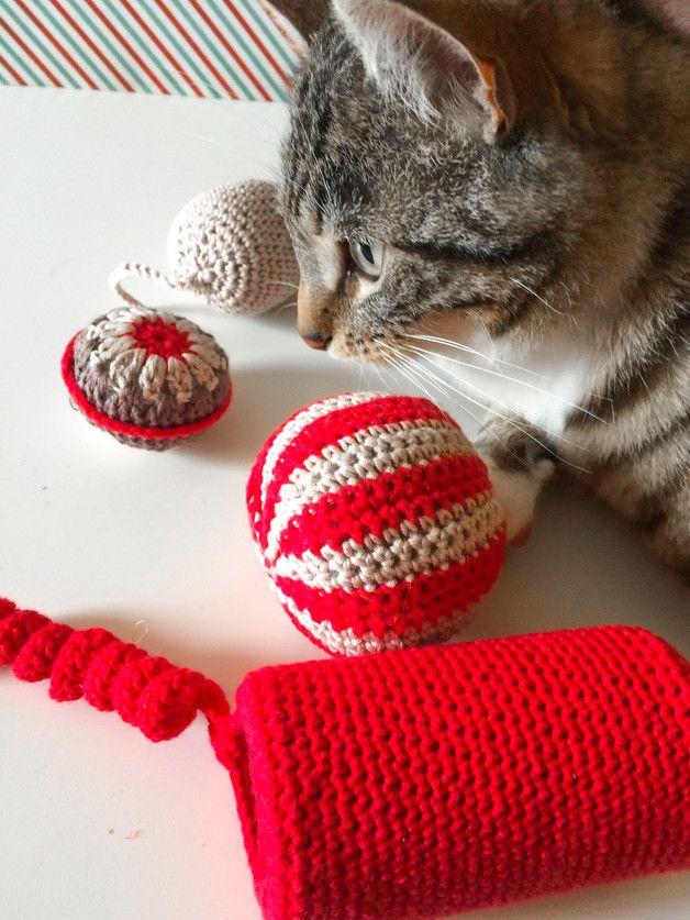 Pelotas amigurumi para gatos - juguetes para mascotas - hecho a mano ...