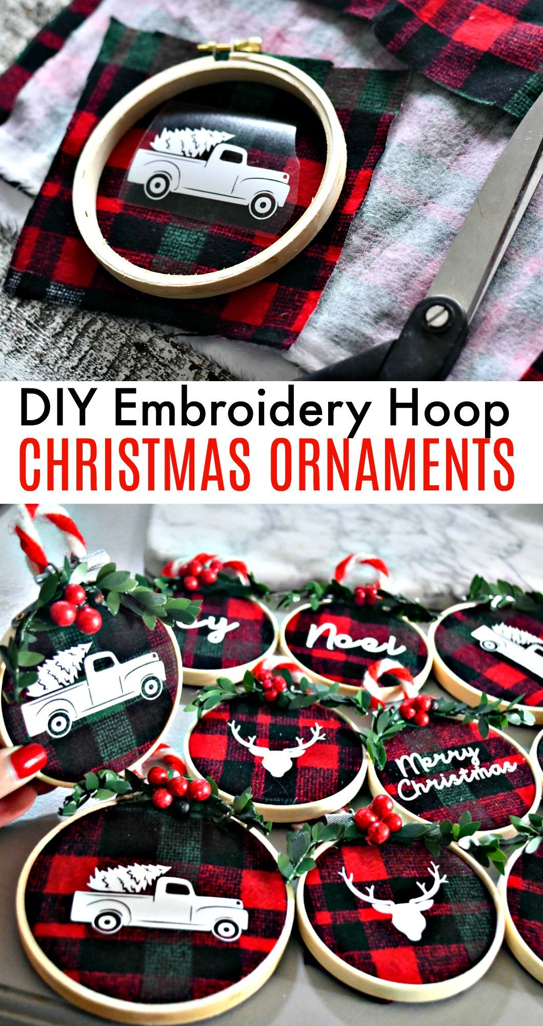 DIY Embroidery Hoop Christmas Ornaments -   23 christmas crafts presents
