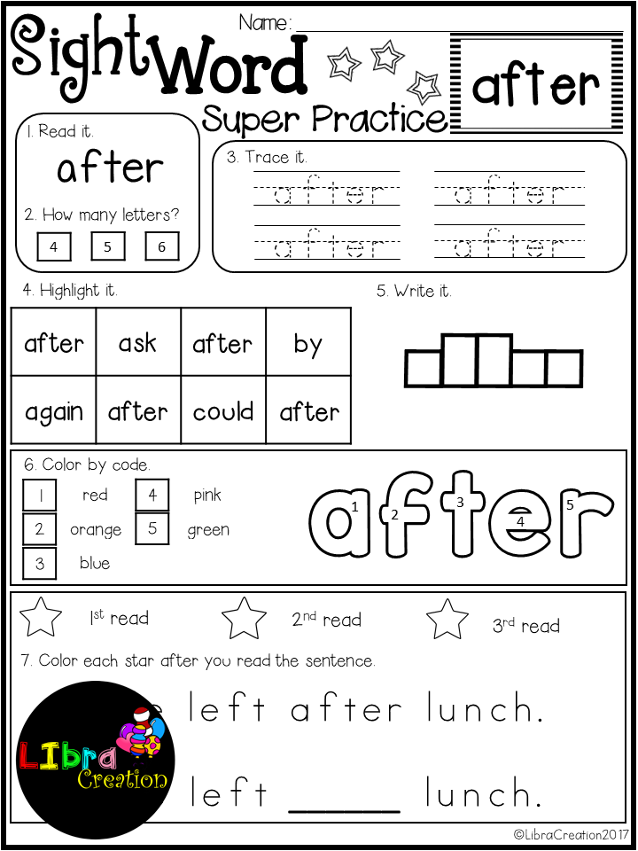 Sight Word Super Practice 1st Grade   Sight words printables ...