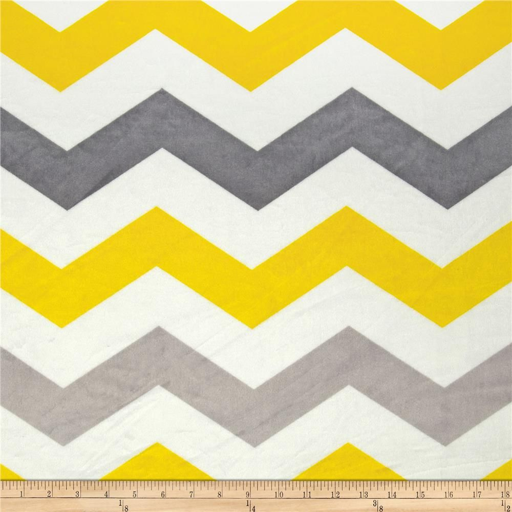 Minky Cuddle 1 3/4\'\' Chevron Grey/Yellow blant with teal back with ...