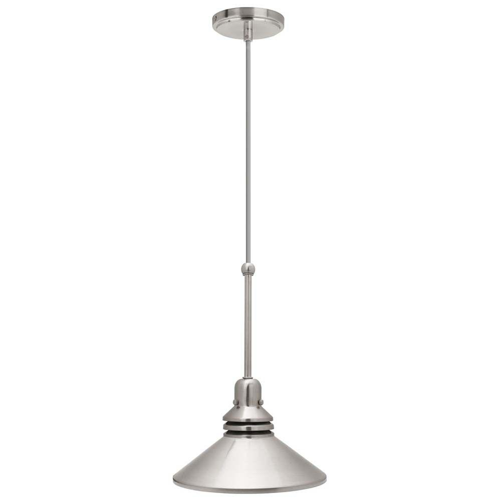 Hampton Bay 1 Light 86 In Brushed Nickel Pendant Track Lighting Fixture 17100 At The Home Dep Track Lighting Fixtures Pendant Track Lighting Lighting Makeover