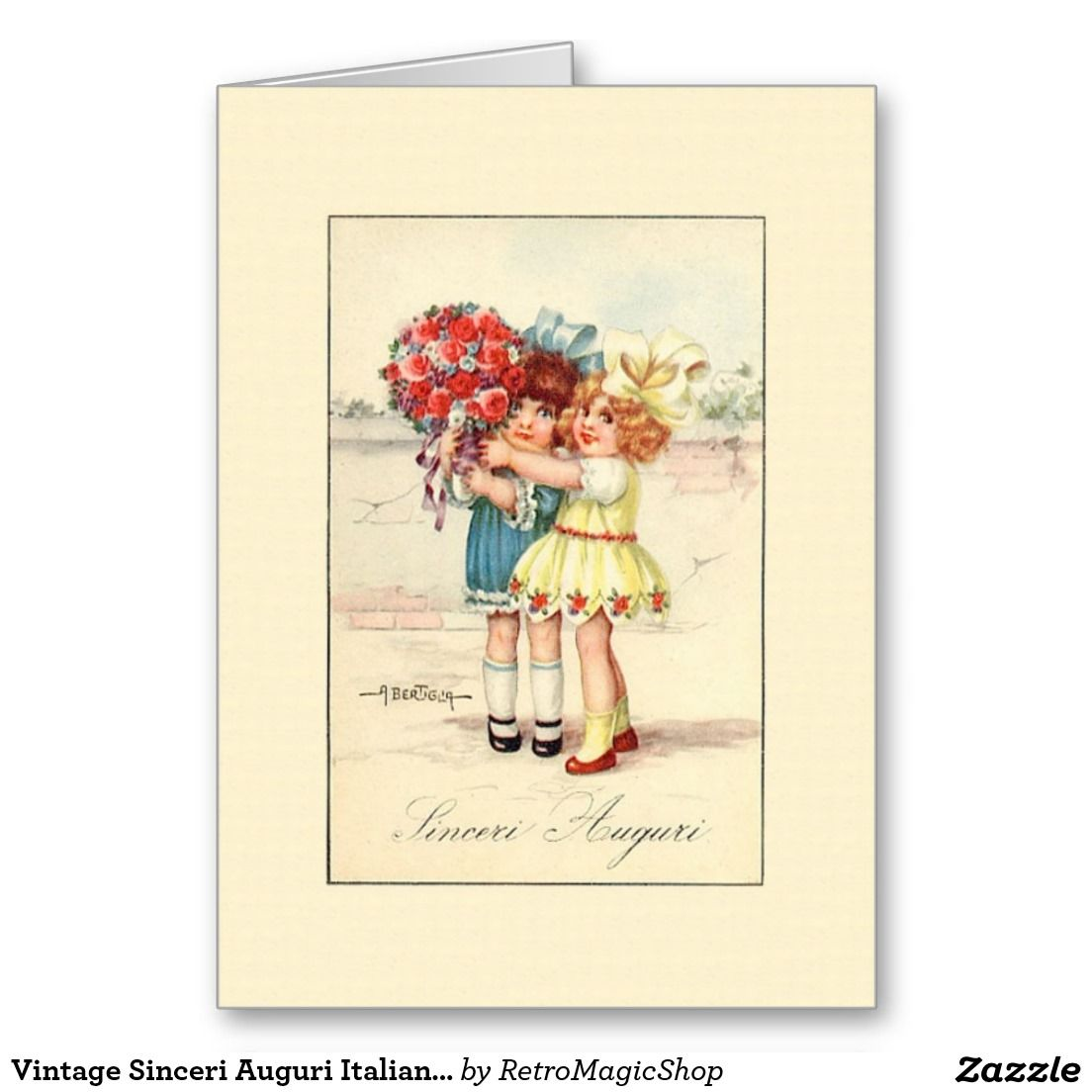 Vintage Sinceri Auguri Italian Birthday Card Vintage International