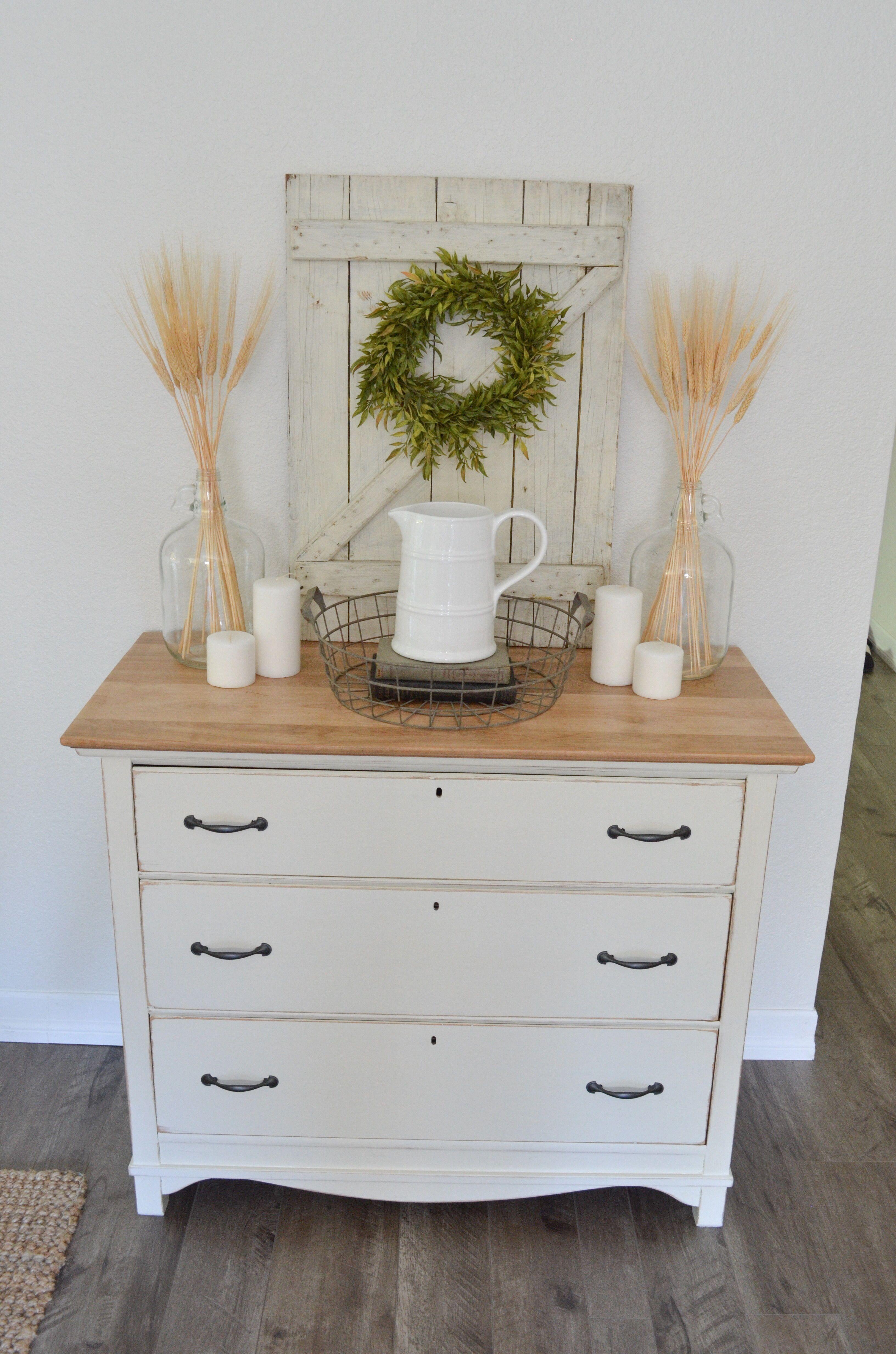 White Dresser With A Fall Vignette Farm Fresh Homestead Farmhouse Dresser Dresser Decor Diy Bedroom Decor [ 4928 x 3264 Pixel ]