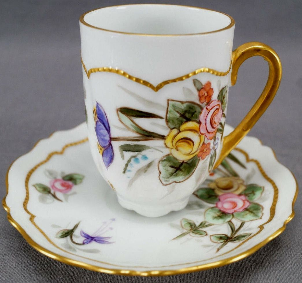 1900 Gutherz Hand Painted Cup & Saucer  #teasets