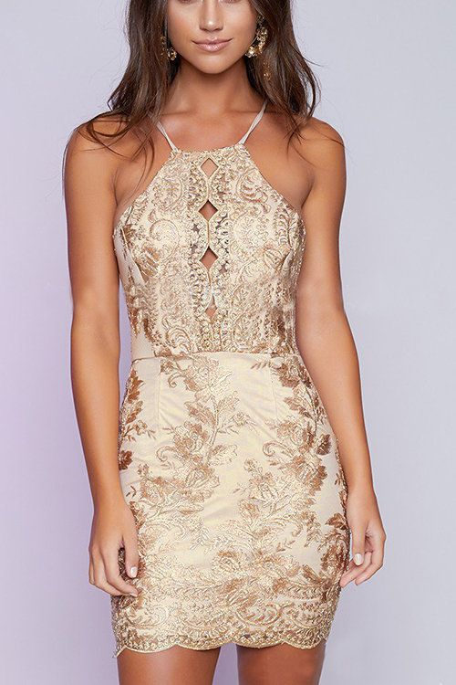 Halter Gold Thread Embroidered Hollow Out Backless Dress | Yoins ...