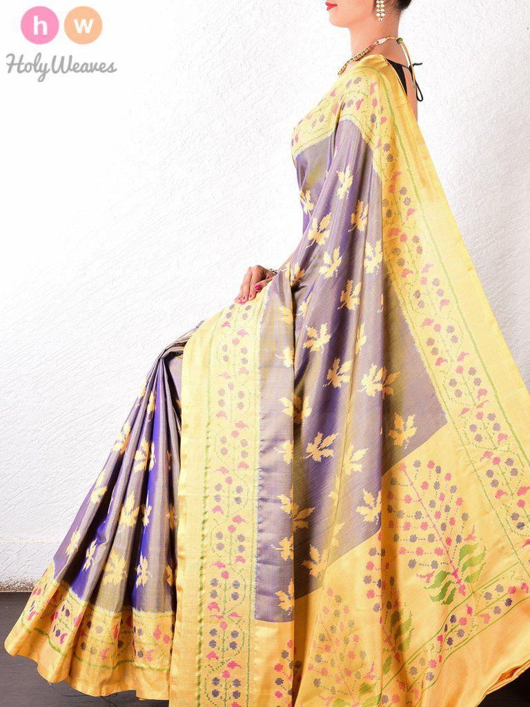 Yellow silk saree purple katan silk patola handwoven saree holyweaves  our