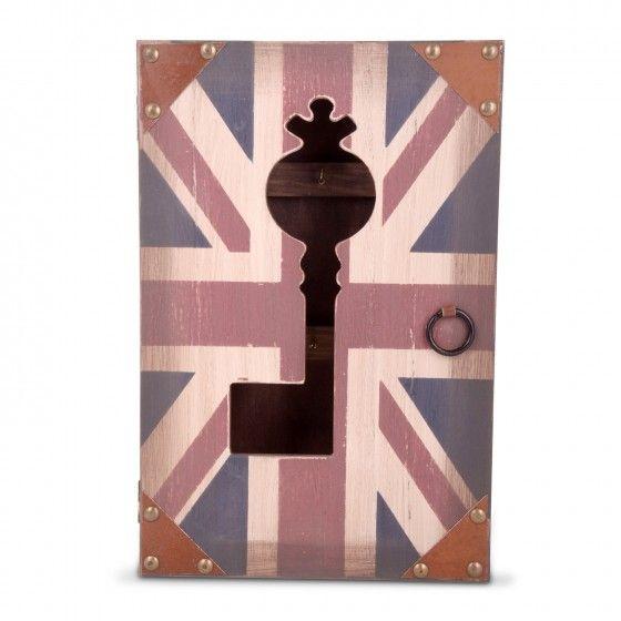 Vintage Union Jack Flag Wooden Wall Key Cupboard