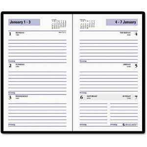 "DayMinder Recycled Weekly Planner, Black, 3.5"" x 63/16"