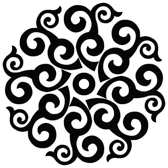 Retro Swirl Decal Medallion Wall Decor Swirl Decal Ceiling