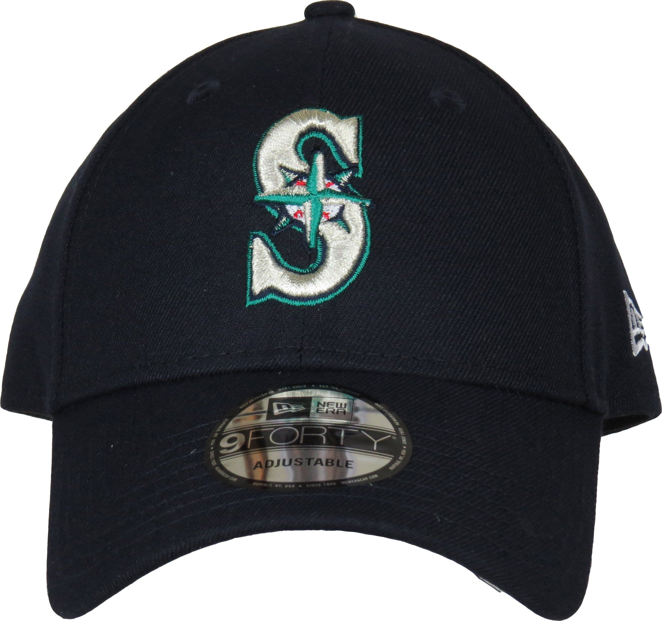 newest 1fa83 2536f New Era 9Forty MLB The League Adjustable Baseball Cap. Navy Blue with the Seattle  Mariners front logo, the New Era side logo, and the Mariners rear strap ...