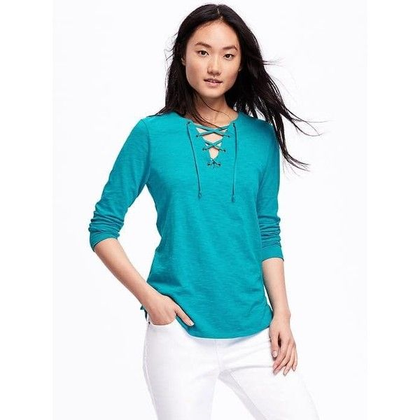 Old Navy Womens Relaxed Lace Up Tee ($15) ❤ liked on Polyvore featuring tops, t-shirts, teal we meet, long sleeve tops, lace front top, blue long sleeve top, old navy and old navy tops